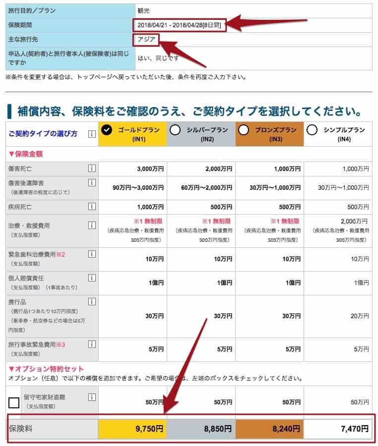 AIG海外旅行傷害保険アジア8日間