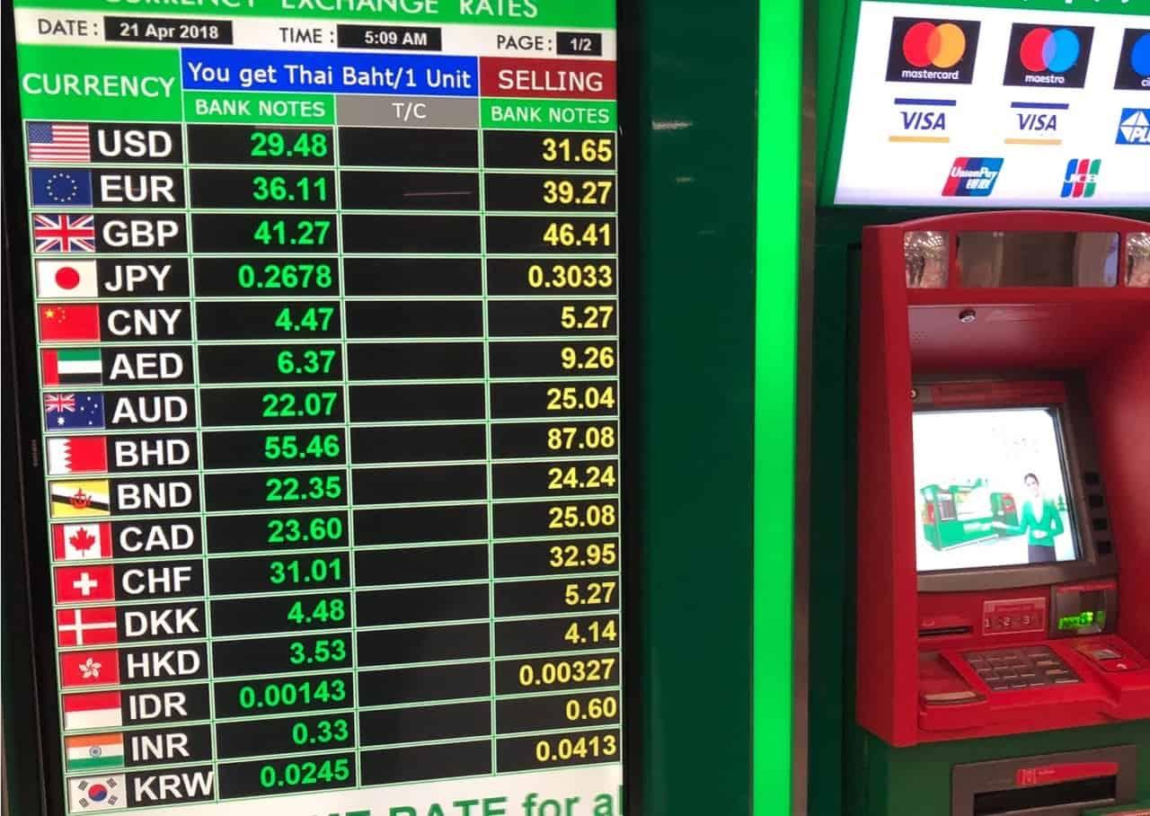 スワンナプーム空港両替所の為替レート