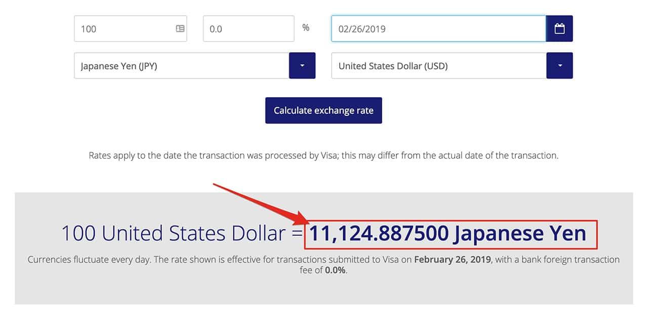 VISA exchange rate culculated