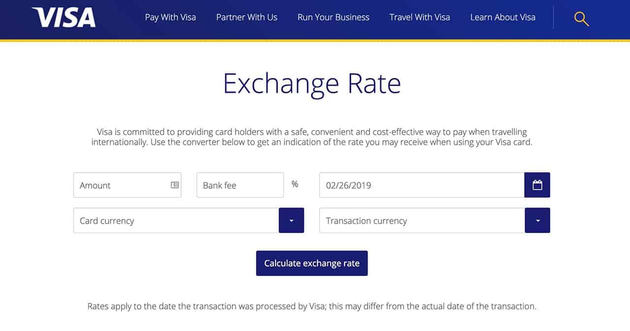 VISA exchange rate